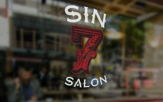 Sin 7 Salon Window Signage