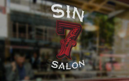 Sin 7 Salon Window Signage